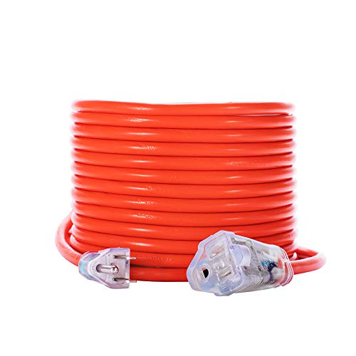KMC 16AWG Power Outdoor Extension Cord with Light, Bright Orange Extension Cord - 50 Feet