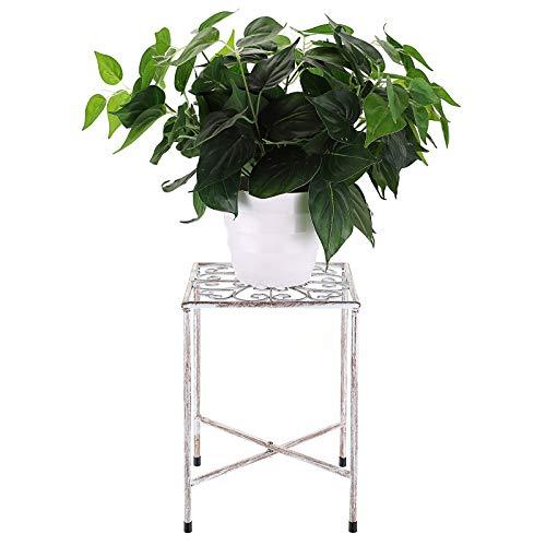 SUMTREE - Sgabello vintage per piante, in ferro, con scaletta, per fiori, da giardino, decorazione per balconi, cortili, giardino (bianco, rotondo)