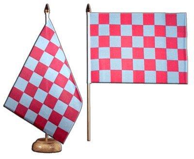 Bandera de mesa/mesa Flaggenfritze–Bandera de cuadros rojo azul + Gratis Pegatinas,