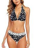 Aidotop Damen Bikini Set Triangel Badeanzug Strand Ties Zweiteiliger Bademode Bikinihose (Speck,L
