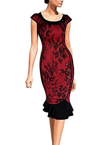 Minetom Damen Elegant Sommer Abendkleid 1950er Ballkleid Einreiher Fishtail Rundhals Business Kleid Party Dress Rot Spitze DE 38