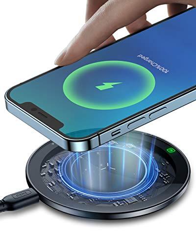 INIU Cargador Inalámbrico, 10W Qi Certificada Carga Rápida Wireless Charger con NTC Temp° Guard para iPhone 11 Pro XS MAX XR X 8 Plus AirPods Samsung S20 S10 S9 S8 Plus Note 10 9 LG Google etc
