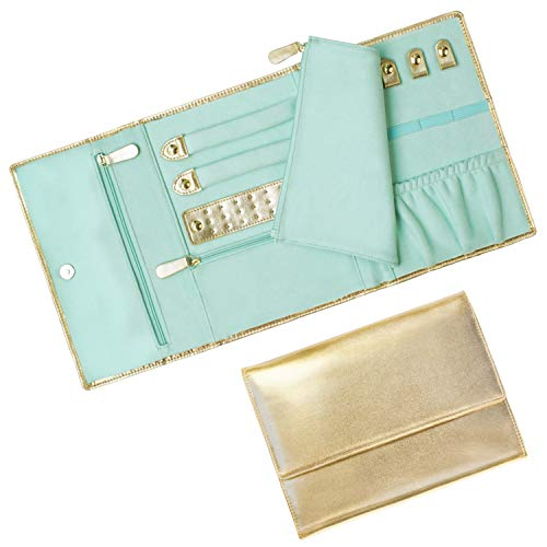 Mymazn Travel Jewelry Roll Organizer Foldable Jewelry Bag Case Shiny Leather Jewelry Storage with Soft Suede Liner Gold/Mint Green