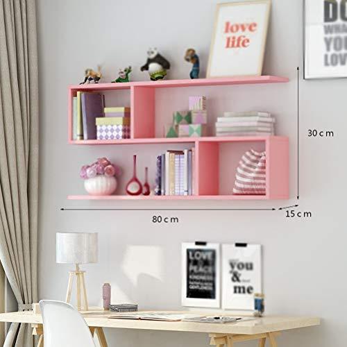 Lfixhssf wijnrekken creatieve muur restaurant opknoping kast woonkamer muur kast moderne eenvoudige muur kabinet boekenplank (80x15x30cm) Lfixhssf roze
