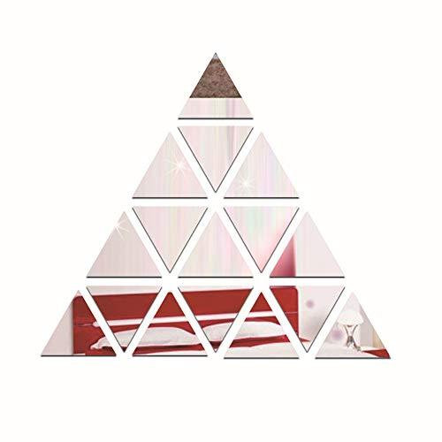 Spiegel Wandaufkleber 3D Acryl Moderne Spiegel Wandaufkleber Pyramide DIY Wandtattoo Home Raumdekoration Spiegel Dekoration Art Wandaufkleber (Farbe : Silber)