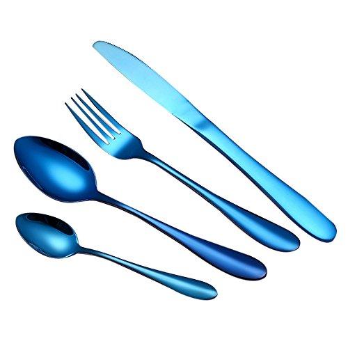 MMOOVV Ménagère 4 pièces Multicolore ménagère Couverts- Set de Couverts de Table Acier INOX - Bleu