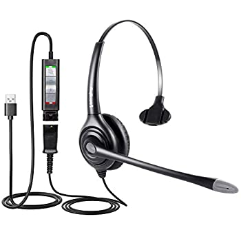 VoiceJoy USB Headset with Quick Disconnect Adapter Compatible with Plantronics QD,Computer Headset with Microphone Noise Cancelling PC Headset Wired Headphones Business Headset for Skype Webinar