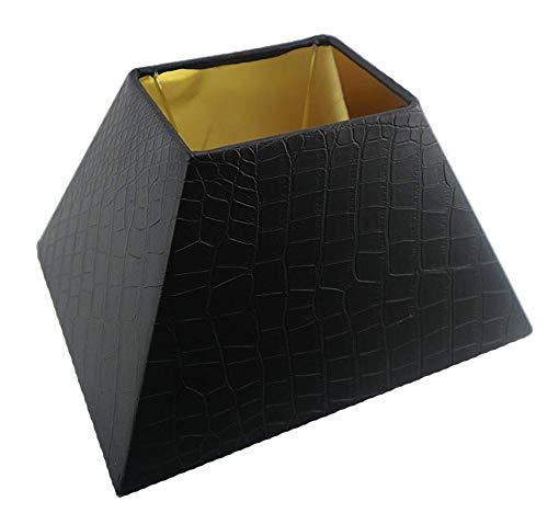 Designer Lampenschirm Kaiman Optik Kunst Leder rechteckig konische Form Schwarz