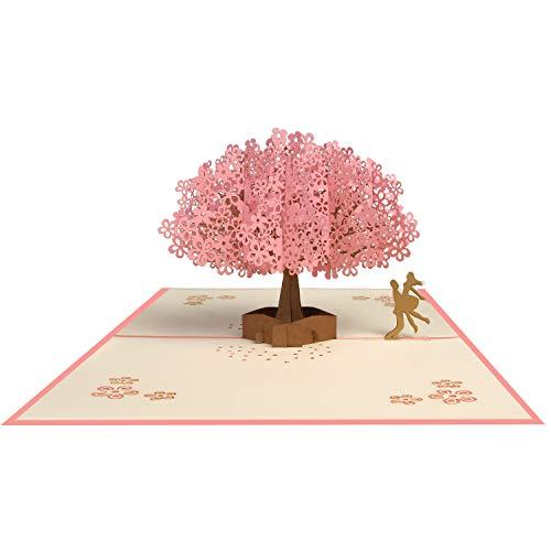 Tarjeta 3D, Pop-up Tarjeta de Felicitación, Tarjeta Plegable para Boda Romantica Aniversario Cumpleaños Navidad Dia de la Madre San Valentín Tarjeta de Graduación, Sakura Romántica