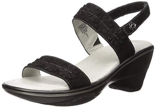 Jambu Women's Daisy Wedge Sandal, Black, 7.5 M US