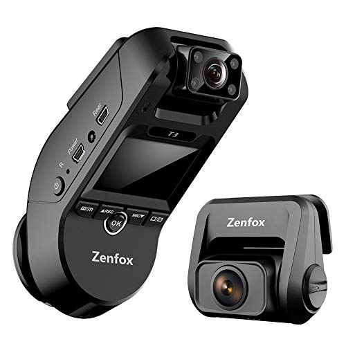 3 Channel Dash Cam, Zenfox 2K 1440P Front+1080P Interior+1080P Rear Triple Dash Camera, Dual-Band WiFi, IR Night Vision, Built-in GPS, Parking Mode, Motion Detection, G-Sensor, Support 256GB Card