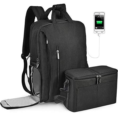 Kamerarucksack, CADeN Wasserabweisend Fotorucksack Camera Backpack & Casual Travel Bag mit USB für DSLR Canon Nikon Sony 15.6'' Laptop(L5 Third Generation Schwarz)