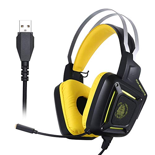 YAJIWU Headphones, Gaming Headset Over-Ear E-sports Noise Reduction Wired Headphone with High Defebition Microphone Stereo Earphone 50mm Driver Unit for PC Laptop Tablet Mac Smart Phone