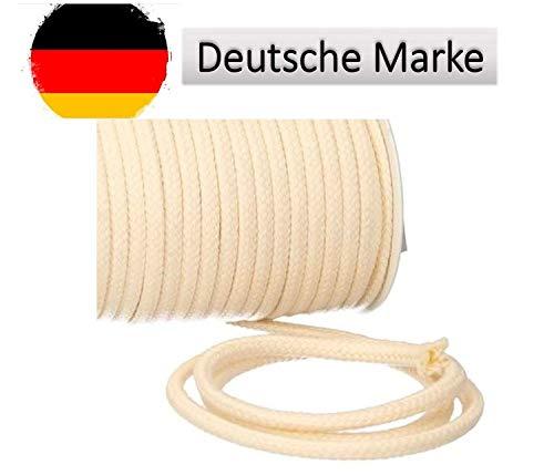 Turnbeutelliebe® Kordel 100% Baumwolle 8mm breit, dick - für Turnbeutel, Taschen & Hosen - zum nähen - viele Farben und Längen - geflochten - Schnur - Seil - Bastelschnur - Band (Natur, 1)