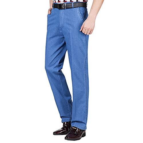 utcoco Mens Fall Loose Work Elastic Waist Straight-Leg Stretchy Denim Jeans Pants (Large, Light Blue)