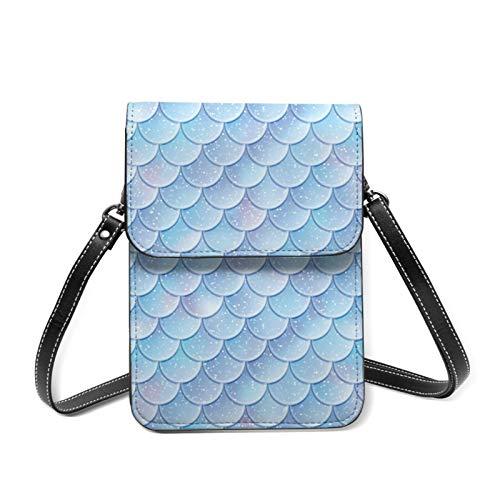Crossbody Bag Light Blue Mermaid Scales Women Teens Girls Kids Students Cute PU Leather Card Wallet Purse Handbags Shoulder Bag Multifunctional Phone Pouch Bag