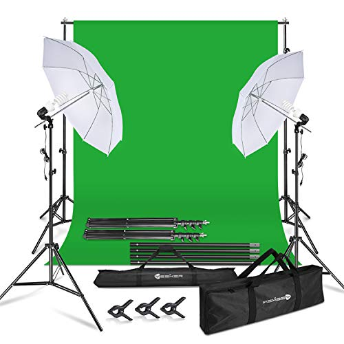 Yesker Photography Lighting Umbrella Kit, 6x9ft Green Screen Backdrop Continous Lighting Umbrella Equipment, 8.5x10ft Background Stand Support System for Studio Photo Portrait Video Shooting