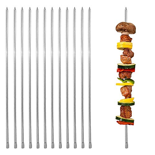E-tex 19.7'',Set of 12,Long Metal Barbecue 4mm(0.16inch) Wide Square Kabob Skewers for Grilling,BBQ,Stainless Steel Shish Kabab Reusable Koubideh Stick Kebab Skewers