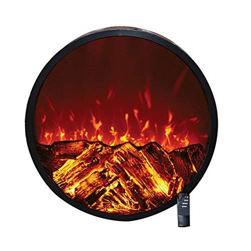 Ronde haard voor wandinbouw - decoratieve elektrische kachel met vlammen W/Logs 3D - veilige sensor - + intelligente afstandsbediening - 1500 W/zwart