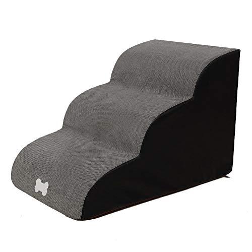 Hundetreppen/Treppen für hohe Betten, 3 Stufen Leiter Haustiertreppe für Schlafsofa Hundetreppe mit Plüschbezug, Farbe wählbar bis zu 121 lb.