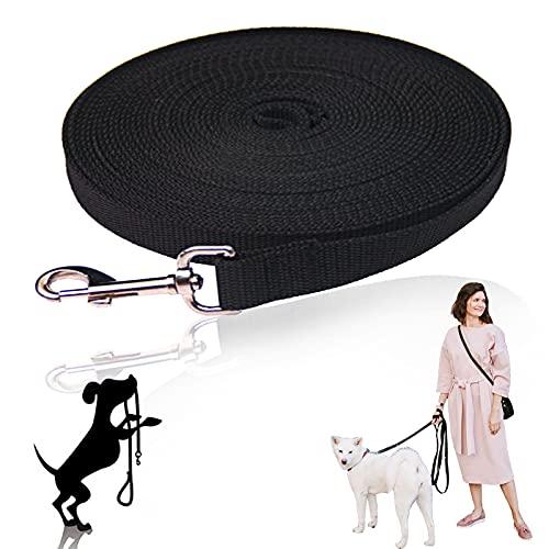 Hundeleinen Schleppleine Hundeleine Lang: Hunde schleppleine Hundeleinen für Große Hunde Laufleine für Hunde Trainingsleine mit Karabiner und Handschlaufe für Große Bis Kleine Hunde 10m (Schwarz)