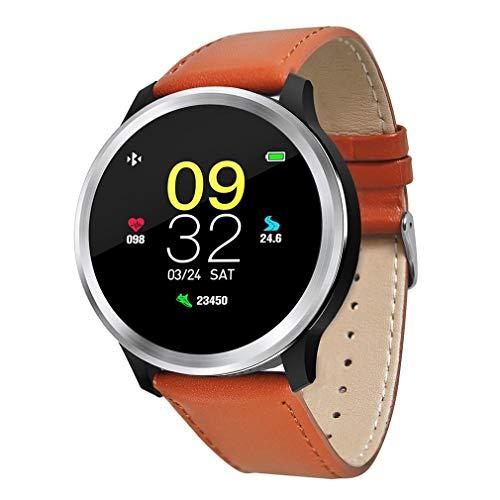 QCHNES Bluetooth Smart Watch Men, Mit Touchscreen, Stahl Heart Tracker Pulsmesser Armband Mit 1,3 Zoll Kompatibel, Multisport-Modus, Für Android IOS
