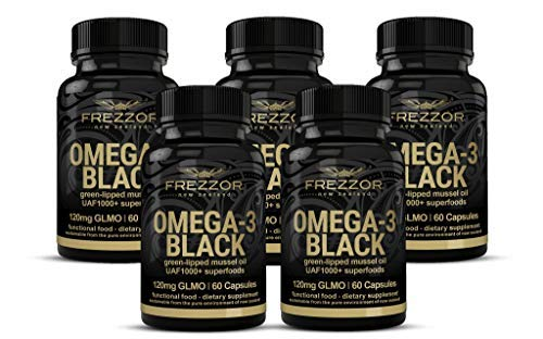FREZZOR Omega 3 Black, Green Lipped Mussel Oil New Zealand, UAF1000+, Joint Pain Relief and Inflammation Supplement, Heart and Immune Support, No Fishy Aftertaste, 450mg, 5 Pack, 300 Count