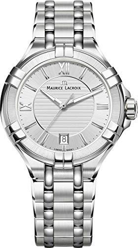 Maurice Lacroix Reloj Analógico para Mujer de Cuarzo con Correa en Acero Inoxidable AI1006-SS002-130-1