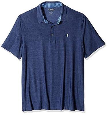 IZOD Men's Big Golf Title Holder Short Sleeve Solid Polo, Blue, Large Tall