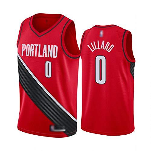 CHSC Blazer # 0 Damian Lillard Trikot Fans Weste, Jungen Herren Basketball Uniform Tops, Tattoo Version Fein bestickte T-Shirt Sportbekleidung rot-A_M_Geschenk