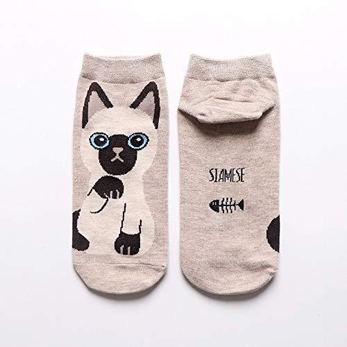 FENGHUAN CalcetinesDivertidos y Bonitos deAnimales de Dibujos Animados para Mujer, Calcetines Cortos para Gato y Perro, Calcetines de Tobillo Informales de Moda Coreana para niñas, Beige