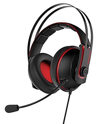 Asus Cerberus Cuffie Gaming, Compatibili con PC, Mac, Smartphone e PS4, Driver Essence, Doppio Microfono, Rosso