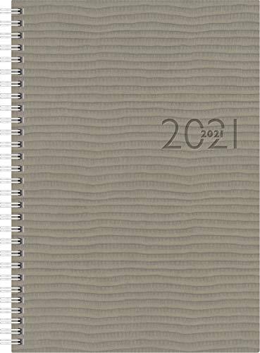 rido/idé 7023036801 Buchkalender studioplan int, 2 Seiten = 1 Woche, 168 x 240 mm, Kunstleder-Einband Tejo grau, Kalendarium 2021, mit Registerschnitt, Wire-O-Bindung