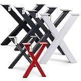 HOLZBRINK 1x Pata de Mesa en Forma de X Perfiles de Acero 40x40 mm, Tamaño 30x43 cm, Negro Intenso, HLT-03-F-AA-9005