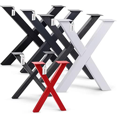HOLZBRINK 1x Pata de Mesa en Forma de X Perfiles de Acero 60x60 mm, Tamaño 60x72 cm, Blanco Tráfico, HLT-03-G-CC-9016