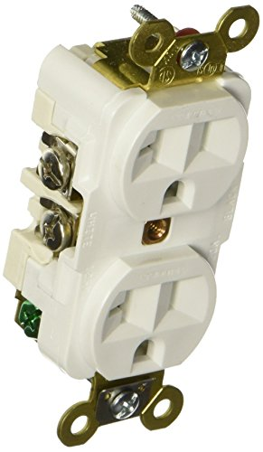 Hubbell HBL5362W Duplex Receptacle, HD Industrial Grade, 20 amp, 125V, 5-20R, White