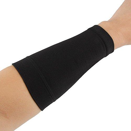 Beauty7 Cubierta del Tatuaje Tatuajes Unisex Lycra Elástico de la Fibra de Poliéster Amina Proteger la Muñeca Manos Ropa y Uniformes de Trabajo Seguridad Color Negro Carne Piel M L (M, Negro)