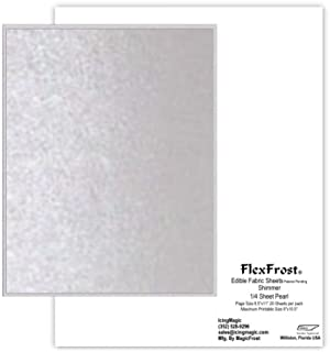 Oasis Supply Magic FlexFrost Edible Image Fabric Icing Sheets - 12 Pack, Pearl Shimmer