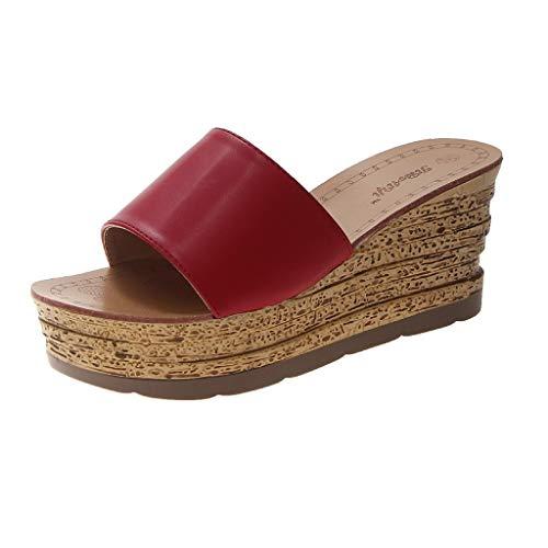 TIFIY Damen Sandalen Frauen Strand Sommer Elegante Wedges Slipper Sandalen Leder Pure Color Schuhe Modisch Ausgehend Jeden Tag Hausschuhe Rot 36