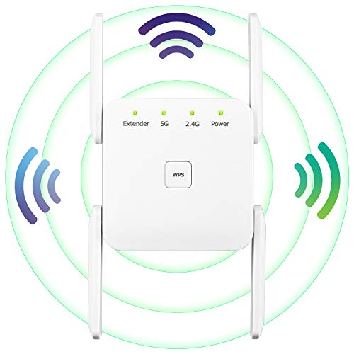 WiFi Range Extender, 1200Mbps Wireless Signal Repeater Booster, Dual Band 2.4G and 5G Expander, 4 Antennas 360° Full Coverage, Extend WiFi Signal to Smart Home & Alexa Devices