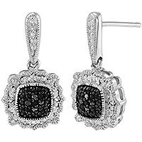 Finecraft Black Diamond Drop Earrings in Sterling Silver