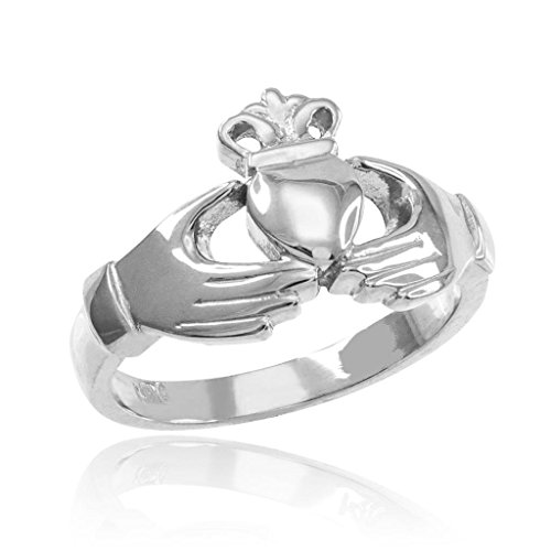 Classic 925 Sterling Silver Irish Heart Claddagh Wedding Engagement Ring, Size 7