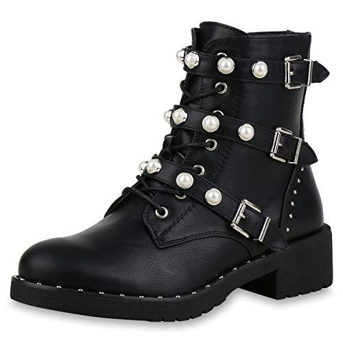 SCARPE VITA Damen Stiefeletten Schnürstiefeletten Leder-Optik Boots Leicht Gefütterte Schuhe Profilsohle Kurzschaft-Stiefel Zierperlen 167973 Schwarz 38
