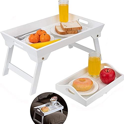 Optyuwah 2er Betttablett klappbar und sofatablett Armlehnen aus Holz Betttisch als Frühstücksbrett im Bett, Sofatisch, TV-Tisch, Laptop-Tablett, Snack-Tablett - 48x32cm und 30x20cm weiß