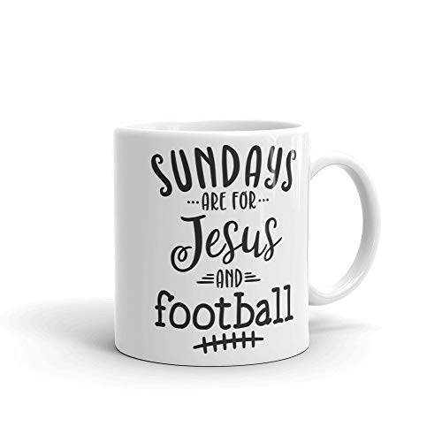"Kaffeetasse mit Aufschrift ""Sundays are for Jesus and Football"""