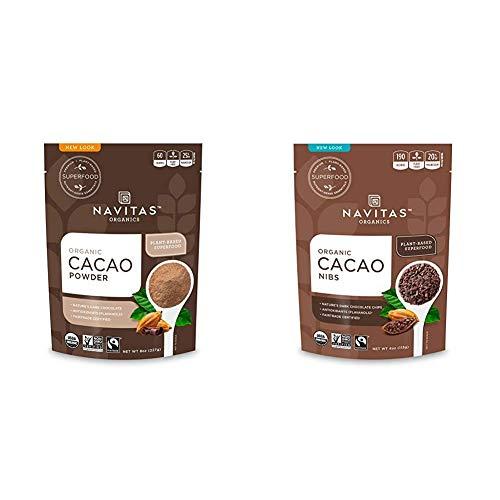 Navitas Organics Cacao Powder, 8oz. Bag — Organic, Non-GMO, Fair Trade, Gluten-Free & Cacao Nibs, 4oz. Bag — Organic, Non-GMO, Fair Trade, Gluten-Free