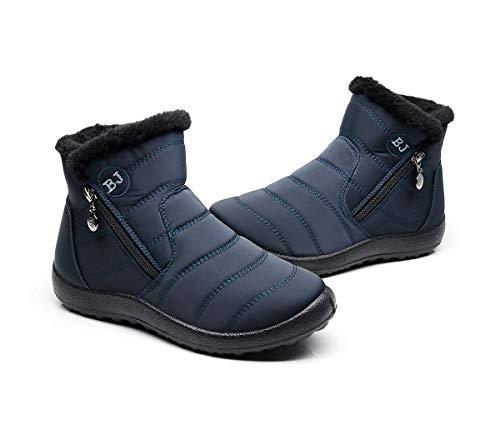 Bottes Courtes Femmes,Popoti Bottes de Neige Zipper Bottines de Cheville Doublées D 'Hiver Chaudes et Plates Bottines Chaussures Outdoor Casual (Bleu-1, 39)