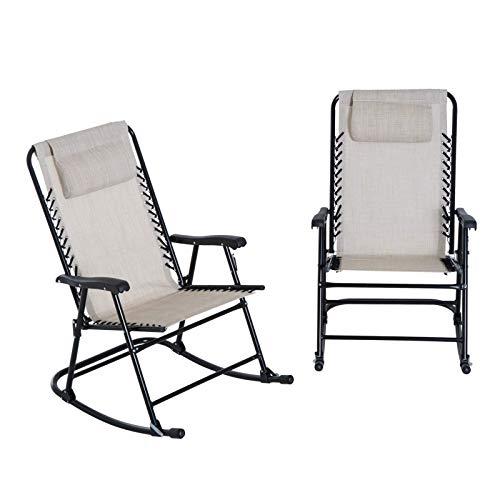 OUY Camping ChairsJuego De Mecedora Plegable De Malla para Patio Al Aire Libre De 2 Piezas - Blanco CremaAsiento De Viaje Al Aire Libre