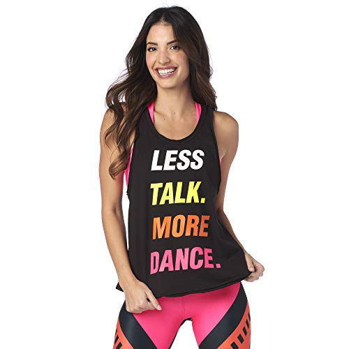Zumba Negro Gimnasio Camisetas Tirantes Mujer Suelta Fitness Entrenamiento Deportivo Top, Bold Black 17, Small