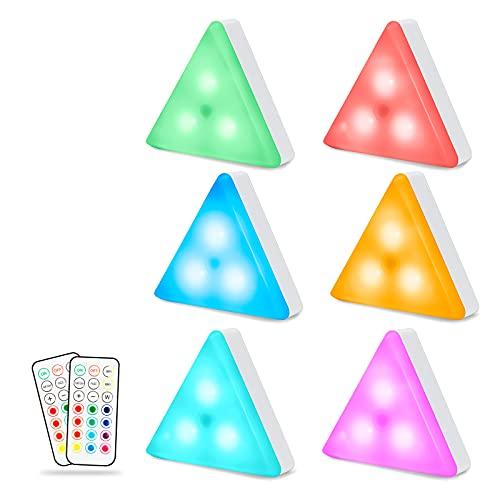 Maxuni Lues Led Armario, 6 Packs Luz Nocturnas LED Inalámbricas Triangular Control Táctil y Remoto Iluminación, 13 Colores Lamparas Led a Pilas (no Incluido) para Armario/Escalera/Espejo/Cocina